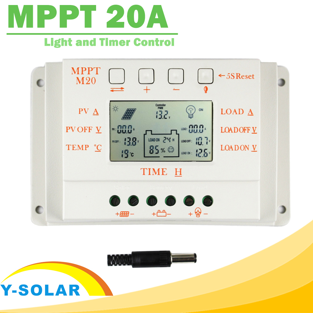 MPPT 20A LCD Solar Charger Controller 12V 24V with Temperature Sensor Light and Timer Control for Home Lighting System Y-SOLAR