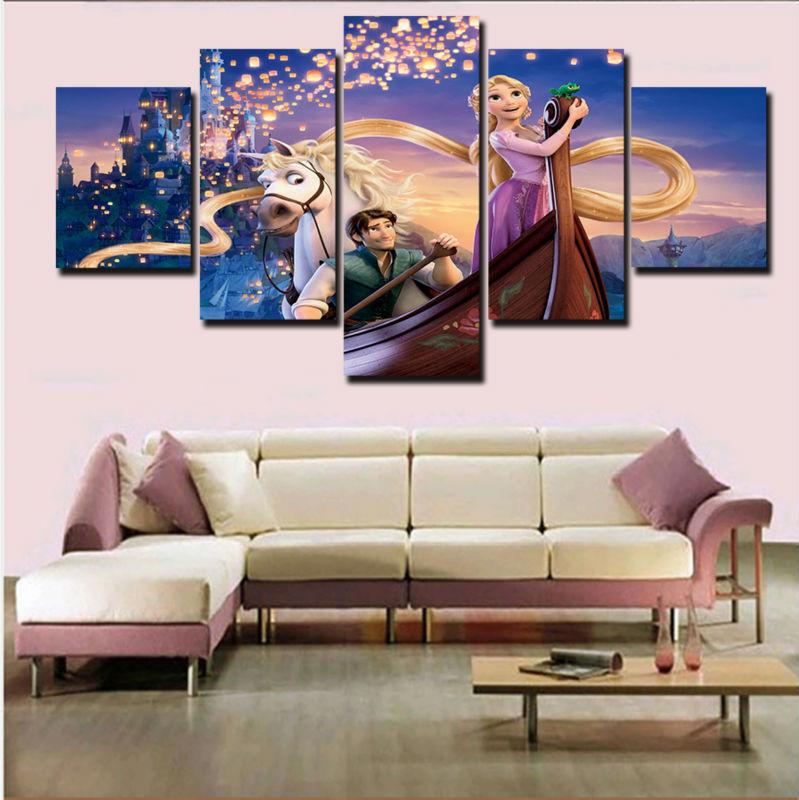 unidsset impreso pintura de la lona tangled rapunzel flynn poster pintura lienzo arte