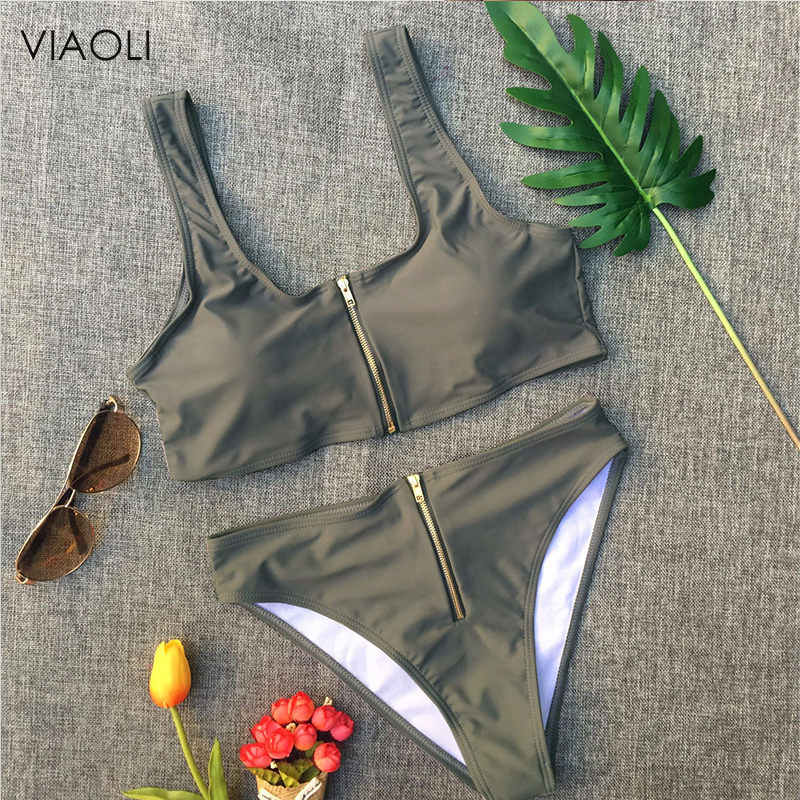 6 Colors Swimwear Women 2018 New Sexy Ladies Solid Color High Waist Top &bottom Zipper Swimsuit Beach Swimming Suit Female Girl