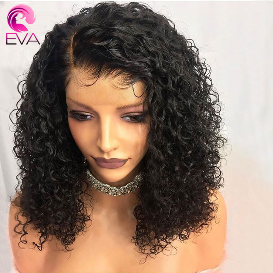 Eva Curly Lace Front Human Hair Wigs With Baby Hair Pre Plucked Short Bob Lace Front Wigs For Black Women Brazilian Remy Hair