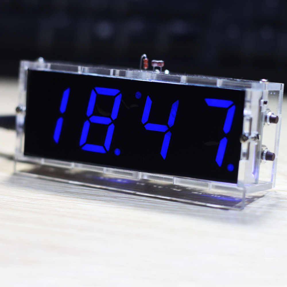 2016 new come Blue Compact 4-digit DIY Digital LED Clock Kit Light Control Temperature Date Time Display with Transparent Case