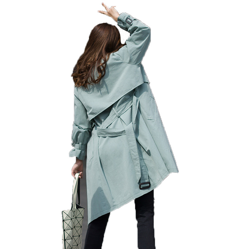 2019 Spring Autumn Fashion Women Long Windbreaker Female Double-Breasted   Trench   Coats Korean Ladies Loose Casual Outerwear M198