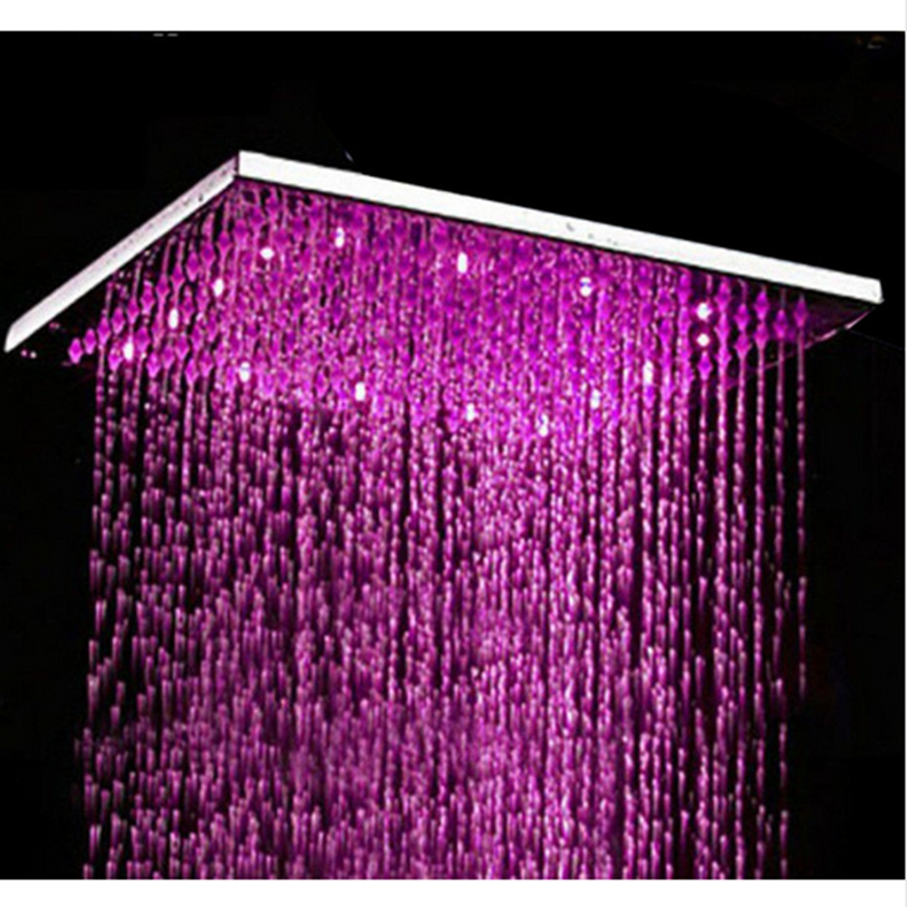 Free Shipping Chrome Polished 3 Colors Changing Sqaure Showerhead 8 Rain Shower Head