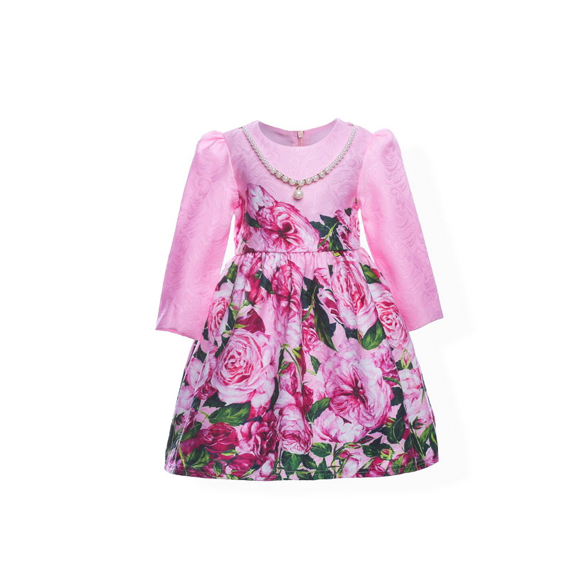 Formal Princess Girls Fashion Print Dress Long Sleeve Rose Flower Pattern Children Christmas Paarty Dress Printed Kids Clothing acthink 2017 new girls formal solid lace dress shirt brand princess style long sleeve t shirts for girls children clothing mc029