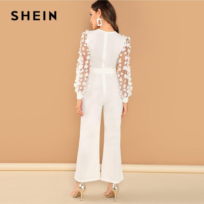 27a019750d3 SHEIN White Elegant 3D Applique Sheer Sleeve Keyhole Front Jumpsuit Women  Autumn Zipper Button Wide Leg Maxi Culottes Jumpsuits-in Jumpsuits from  Women s ...