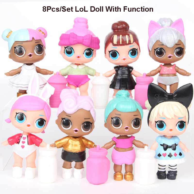 8Pcs Kawaii Unpacking LoL Doll Big Eye Good Quality Action Figure Toys can Spray and Drink Water dolls Best Gift For Girls Kids