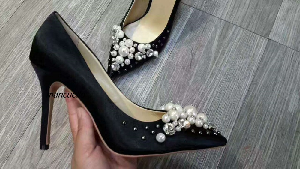 Chic Black Silk Thin High Heels Glittering Crystal Pearl Decorated Stiletto Heels Pumps Women Classy Pointy Slip-on Shoes rhinestone decorated stiletto heels