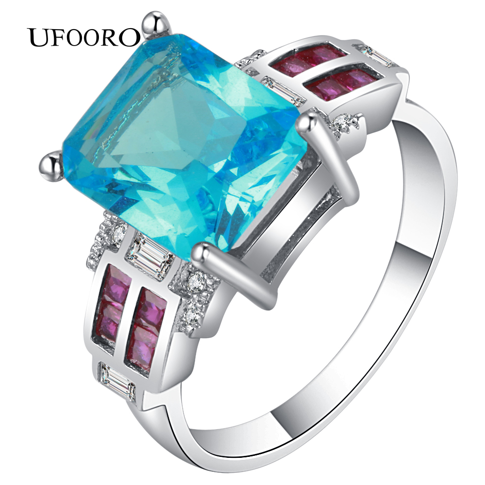 UFOORO Blue CZ Silver Color Weeding rings Romantic Fashion accessories Naturl Crystal fo ...
