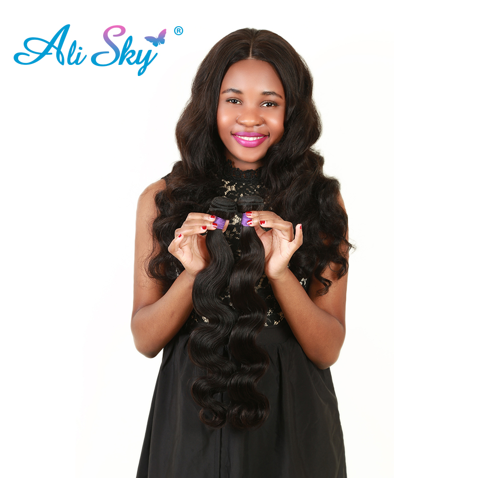 Ali Sky Brazilian Hair Body Wave 1pc 100g Human Hair Bundles Weave thick hair weft Can Be Curled Natural Color 1B non remy
