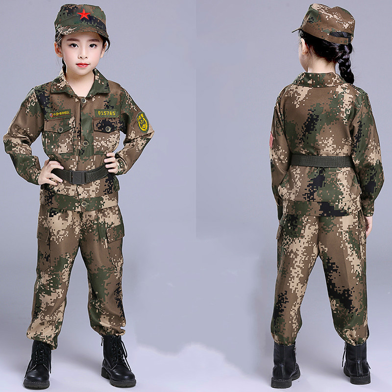 Детская военная форма Amy, детская камуфляжная форма для мальчиков, военная спортивная одежда, спортивный костюм для солдат, полицейский костюм - Цвет: long sleeve
