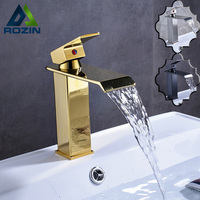 Square Golden Waterfall Basin Faucet One Handle Single Lever Bathroom Sink Vanity Mixer Faucet With Hot