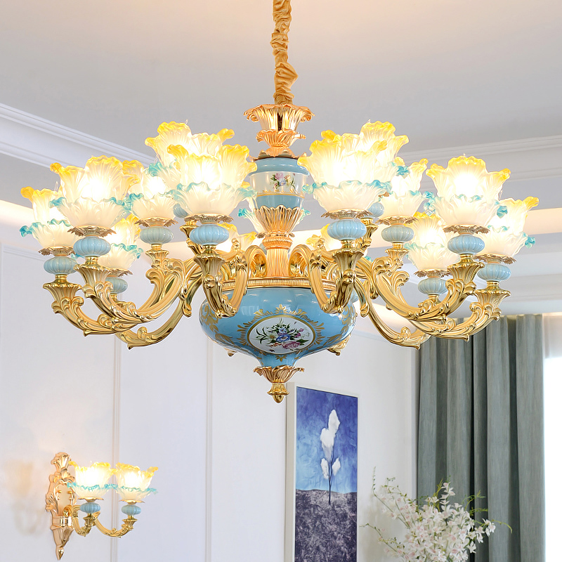 Romantic Lighting Blue K9 Crystal Chandelier Lustre Murano Glass Chandelier Lustres LED Chandeliers French Bedroom Hanging Lamps turkish mosaic lamps blue crystal glass led lights hand blown murano glass chandelier lighting