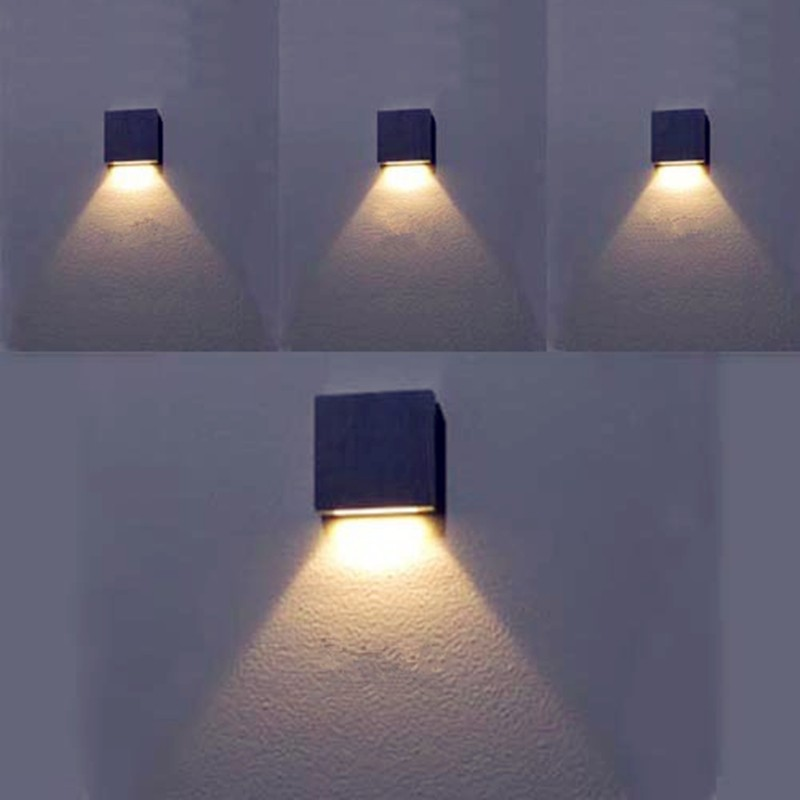 7 color Modern Style Multi Light Color 3W Led Wall Lamp Silver Aluminum 60*60*12mm Led Stair Lighting Wall Sconce WWL030