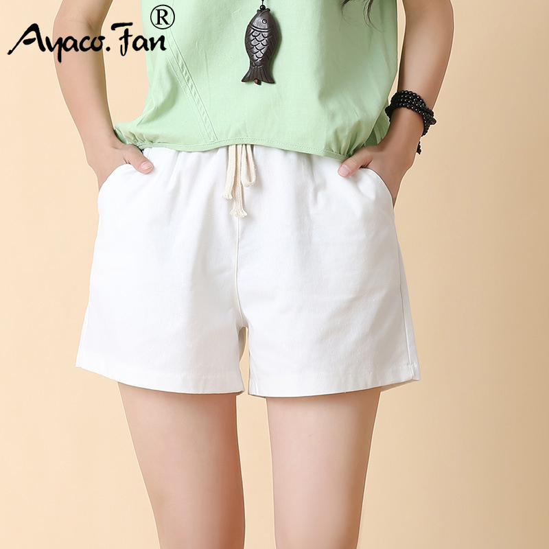 Candy Colors Hot Summer Women Shorts 2019 New Loose High Waist Sports Shorts Casual Girls Lady Linen Short Trousers Plus Size