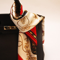 Luxurious Red Carriage Pure Silk Scarf Big Size Square Printed Pattern Silk Scarf For Women Handbag