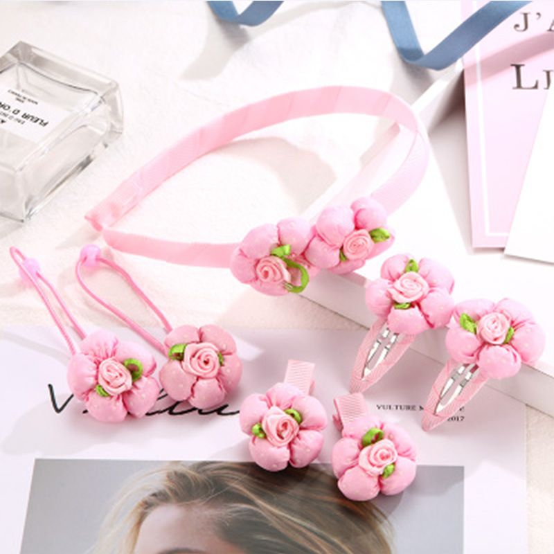 7PCS/Lot Baby Girls Cute Hair Accessories Set Bow Flower Pearl Hair Clips Elastic Hair Bands Headbands Kids Headwear Hairbands 7 fashion boutique grosgrain ribbon organza breast cancer printed cheer bow with elastic hair bands for cheerleading girls