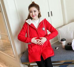 Новинка 2019, n1699, зимнее теплое пальто в Корейском стиле с вельветом для беременных
