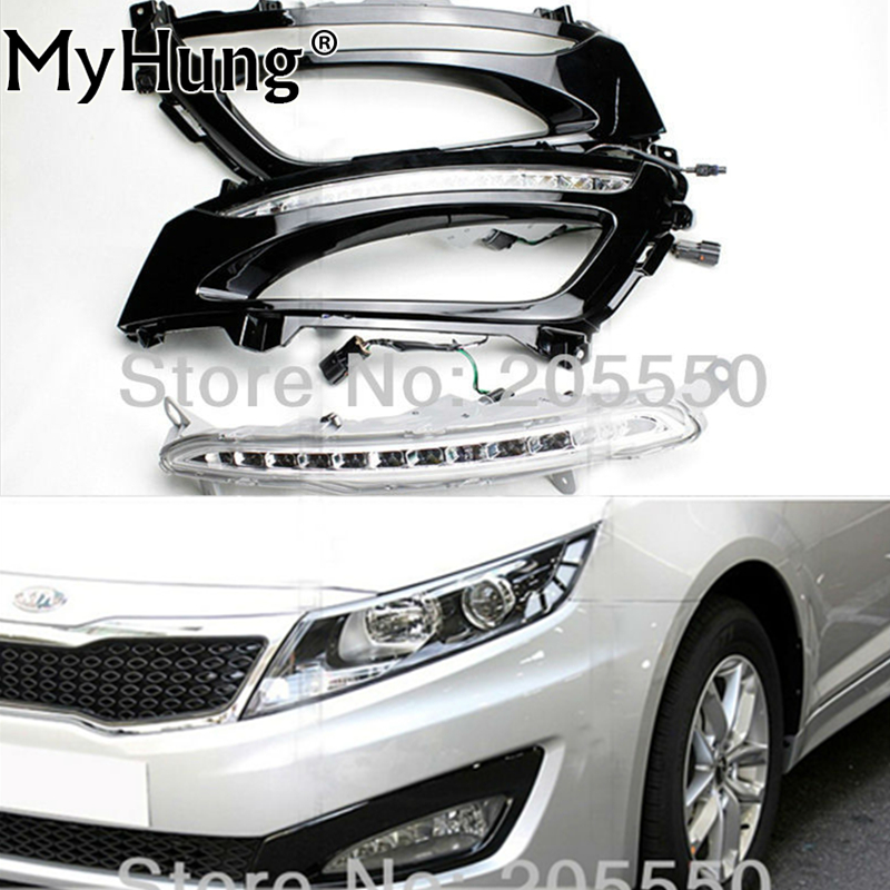 2pcs Cold White Daytime Running Lights Day Fog Lamps LED driving light Fit For KIA K5 OPTIMA 2011 2012 2013 2014 up цена