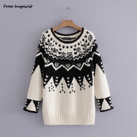 Free Inspirit 2018 New Fashion Spring Autumn ZARA Pearl Jacquard Wool Component Knitwear Women