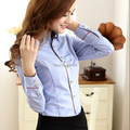 Mais novos das Mulheres Algodão Longo-Manga Comprida Básica Blusa Camisas da Senhora OL Elegante Trabalho de Escritório de Negócios de Moda Camisas Blusas topos