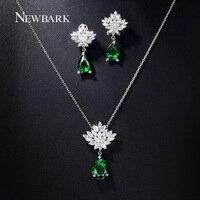 NEWBARK Romantic Snowflake Flower Pear Shaped AAA CZ Diamond Teardrop Stud Earrings And Necklace Set Green