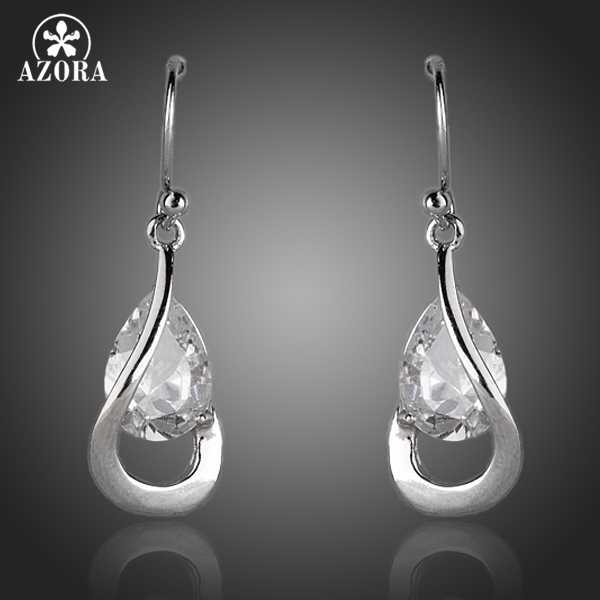 AZORA Elegant Princess Clear Cubic Zirconia Stylish Tear Drop ต่างหูสำหรับผู้หญิง TE0154