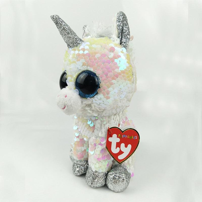 TY Beanie Boos 15cm white sequin Unicorn Dog Olw Dange Alpaca Dragon Plush Toys Big Eyes Eyed Stuffed Animal Soft Toy Kids Gift ty beanie boos plush animal doll skye zuma rocky the dog soft stuffed toys 6 15cm