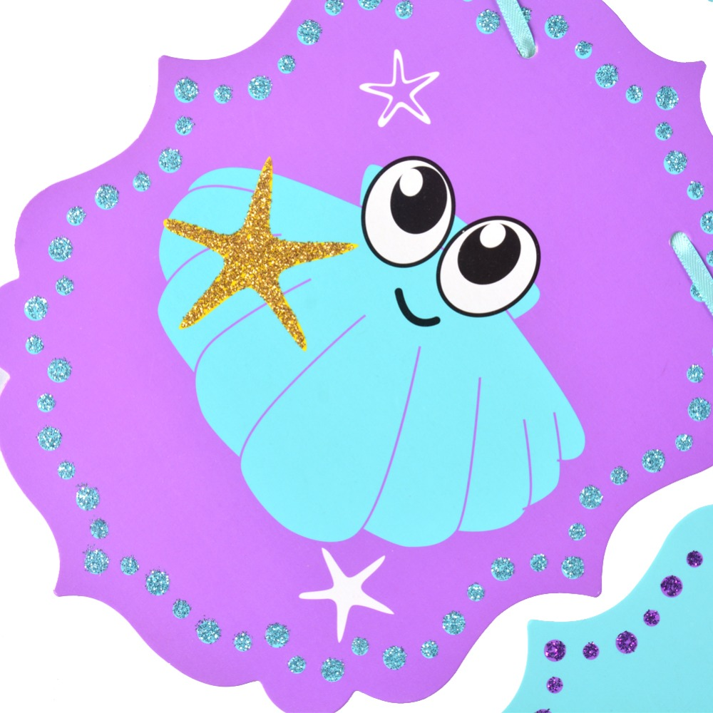 20pcs Mermaid Birthday Party Decorations Under the Sea Banner Paper Star Pom Pom Girl Oceanic Birthday Supplies in Party DIY Decorations from Home Garden