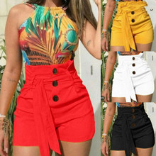 Hot Sale Summer Women Casual Short PantsSwimmingwear High Waisted Mini Button Knot Pants Black White Sexy Shorts