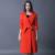 Gabardina larga floja femenina 2016 más tamaño doble botonadura prendas de vestir exteriores de manga larga de Inglaterra chaqueta de calidad superior para mujer peacoat