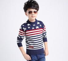 autumn boys casual striped pullover sweater children blue red big boy kids winter cotton Jacquard bottoming shirt tops