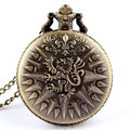 Free shipping Bronze Retro Dragon Pendant Pocket Chain Men Women Quartz Watch 86 Gift P209