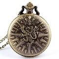 O envio gratuito de Bronze Retro Pingente de Dragão Cadeia de Bolso Das Mulheres Dos Homens Relógio de Quartzo 86 Gift P209
