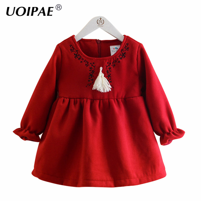 UOIPAE Dress For Kids Girls 2018 Winter Fashion Print Baby Girl Dress Long Sleeve Plus Thick Velvet Children Clothing B0837 2016 winter new soft bottom solid color baby shoes for little boys and girls plus velvet warm baby toddler shoes free shipping