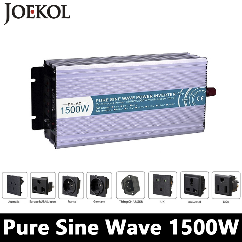 1500W Pure Sine Wave Inverter,DC 12V/24V/48V To AC 110V/220V,off Grid Power Invertor,voltage Converter work with Battery Panel