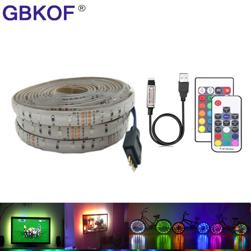 2835 Smd Rgb Cargador Usb Led Luz De Tira Cable Dc 5 V Usb Lámpara De Luz Led Flexible Cinta 1 M 2 M 3 M 4 M 5 M Rf Ir Rgb Controlador Remoto