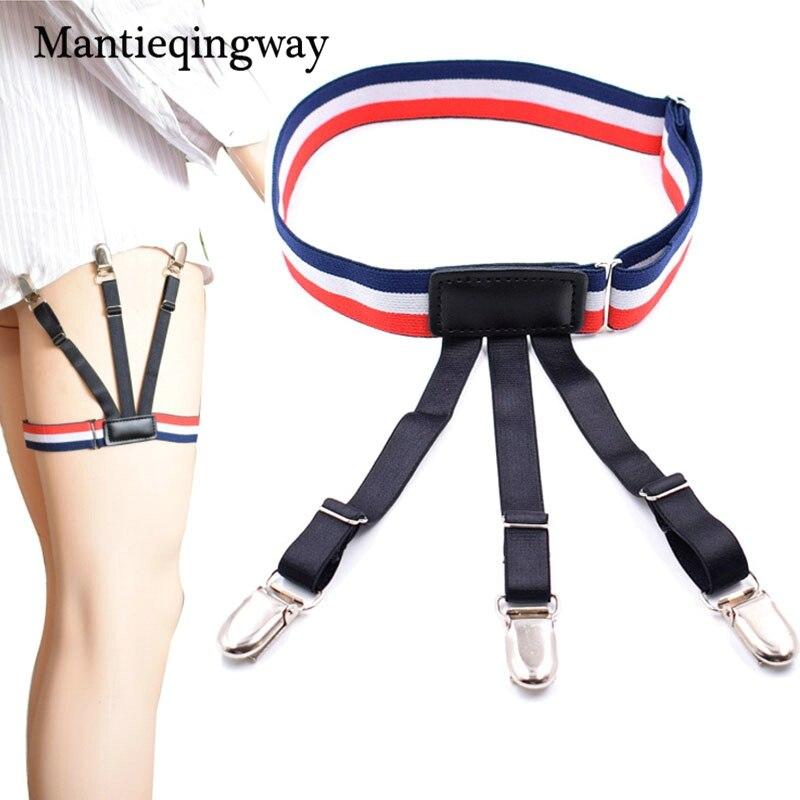Mantieqingway 1 Pair Adjustable Elastic Shirt Stays Garter for Mens Suspenders Braces Gentleman Elastic Shirts Suspensorio Belt