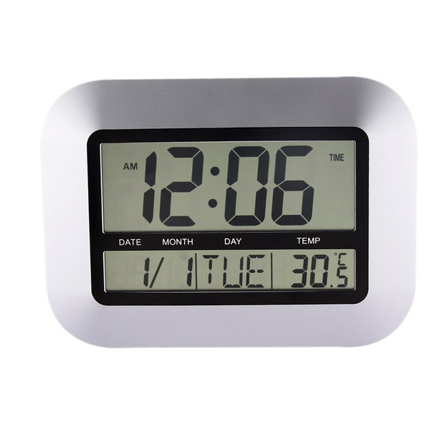 Home Decor Alarm Clocks Temperature Display Silver Desk Bedroom Kitchen Table Digital Large Wall Clock Support