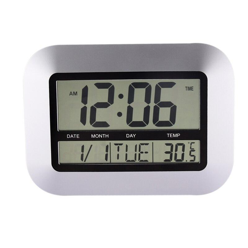 Home Decor Alarm Clocks Temperature Display Silver Desk Bedroom Kitchen Table Digital Large Wall Clock Support 4 Languages