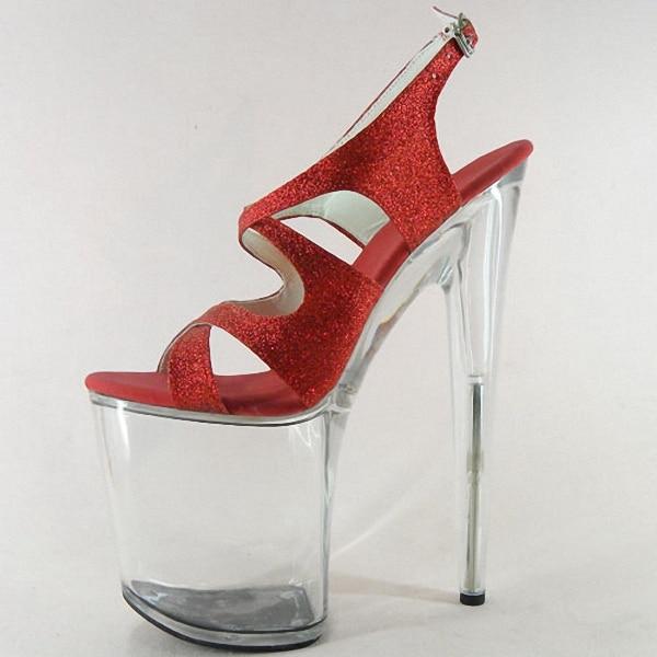20cm Ultra High Heels Sandals Open Toe Glitter Wedding