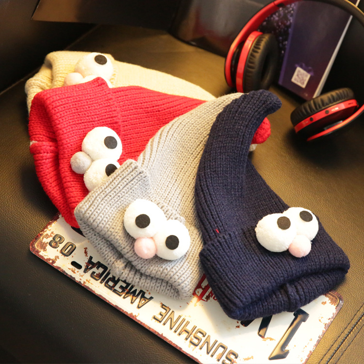 Korean winter new children 's eyes wool cap baby cartoon Christmas knit hat hat the new children s cubs hat qiu dong with cartoon animals knitting wool cap and pile