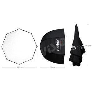 Image 3 - Godox paraguas portátil de 120cm/47,2 pulgadas, caja difusora, Reflector para Flash estroboscópico de estudio