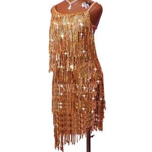 Image 3 - Profession Latin Dance Dress Women Adult Samba Costume Gold Tassel Competition Performance Wear Latin Dresses