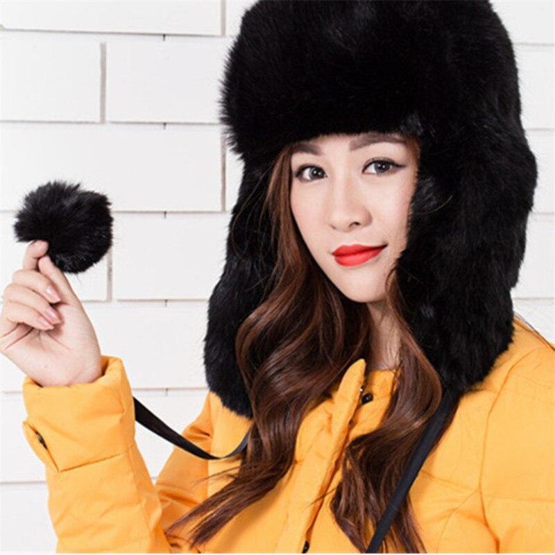 Women Russian Cossack Style Hats Faux Fur Winter Warm Trapper Winter Female  Hats Ear Protect Hats Black Hats 027 48fa79a74f8