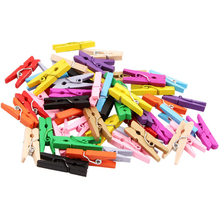 200Pieces 2.5cm Mini Wooden Clips Craft Memo DIY Clothes Paper Photo Peg Decoration Office Supplies