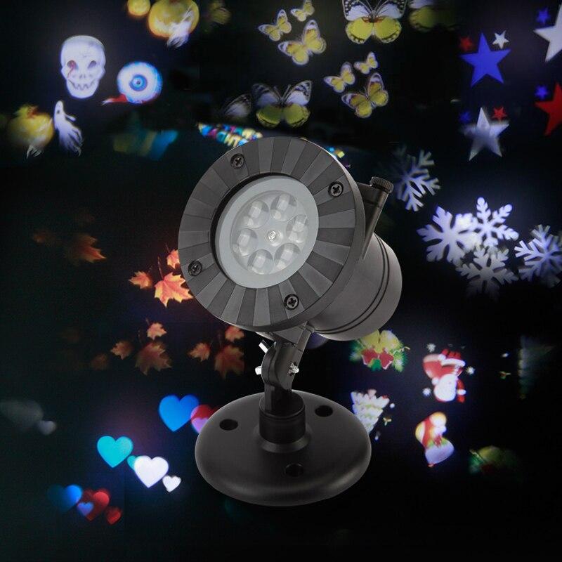 Новогодние товары лазерный проектор 12 Шаблоны снежинка LED лазерный душ Рождественские огни Открытый гирлянды Водонепроницаемый Звезда про…