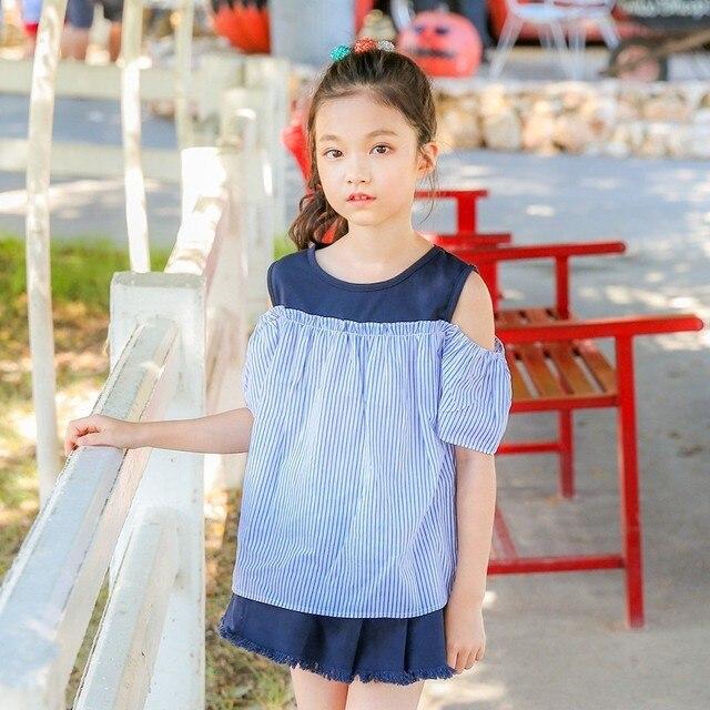 ea0265fcdef0 children clothing girls jeans shorts set off shoulder blouses tops ...