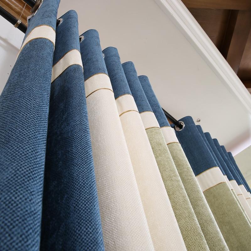 Modern Striped Curtains for Living Room Elegant Window Blackout Fabric for Bedroom Drapes Set Chenille Splicing Velvet Blinds