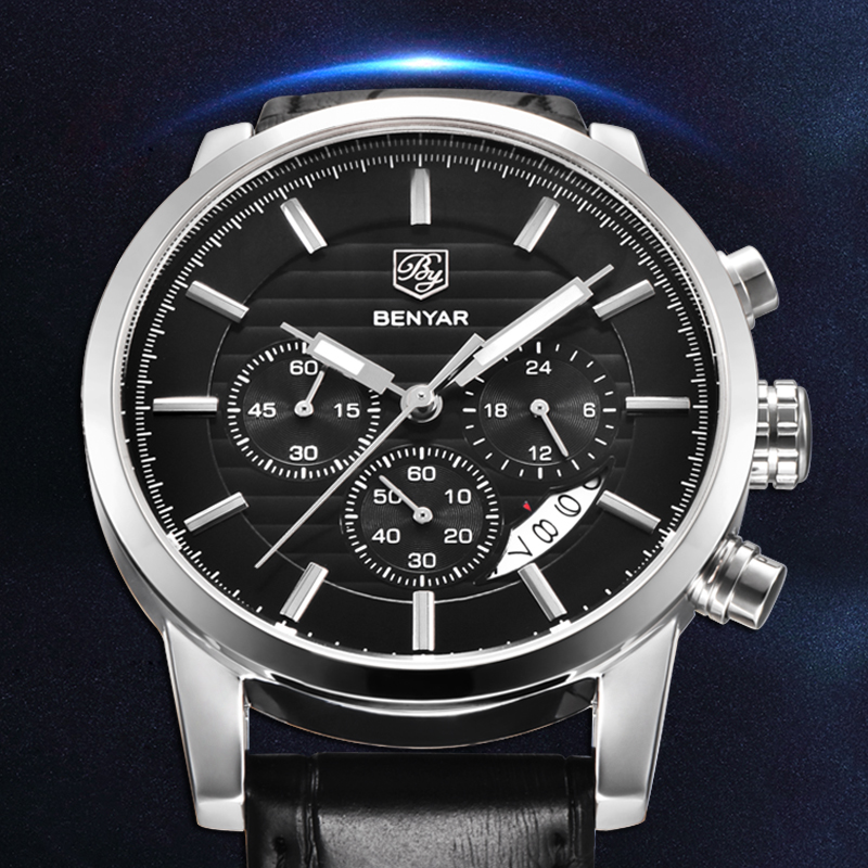 <font><b>BENYAR</b></font> 2019 New Men's Watches Top Luxury Brand Men Watch Business Quartz Watch Men Waterproof/Military/Leather Watch Men Clock image