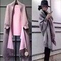La nueva edición 2016 De han Caliente knitting capa de la borla de la manera femenina del batwing de la rebeca del mantón outwear